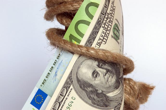 dollar en euro in touw